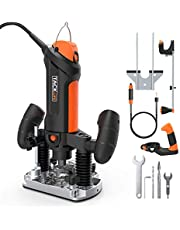 "TACKLIFE Plunge and Fixed Base Router, 30,000RPM Compact Router Kit, 6 Variable Speed Router Tool, 1/8"" Flex Shaft, 1/4"", 6mm Collets, Auxiliary Handle, Compass for DIY - PTR01A"