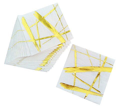 Gold and White Cocktail Paper Dinner / Party Napkins, 20 3-Ply Disposable Napkins, All ()