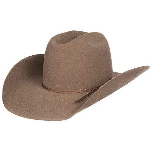 American Hat Company Mens 7X Felt Hat w/Matching 2 Cord Ribbon 73/8 Pecan