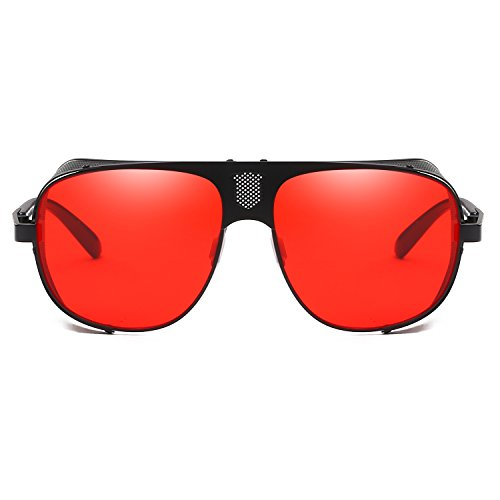 Cool Cyber Goth Rave UV400 Vintage Steam Goggles Red Sunglasses Eyewear Punk Protection ggrq4