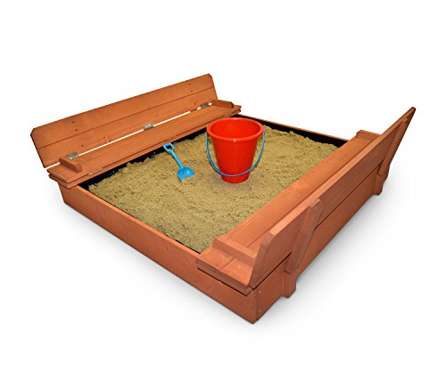 Back Bay Play Kids Wood Sandbox with Cover Premium Wooden Outdoor Sand Box with Convertible Bench Seats – Includes Black Vinyl Liner to Store Sand – Sensory Toy Promotes Learning - Easy Cleanup
