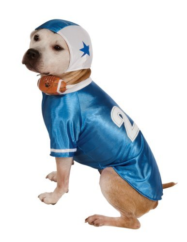Football Dog Costumes (Rubie's Pet Costume, Large, Blue Football Player)