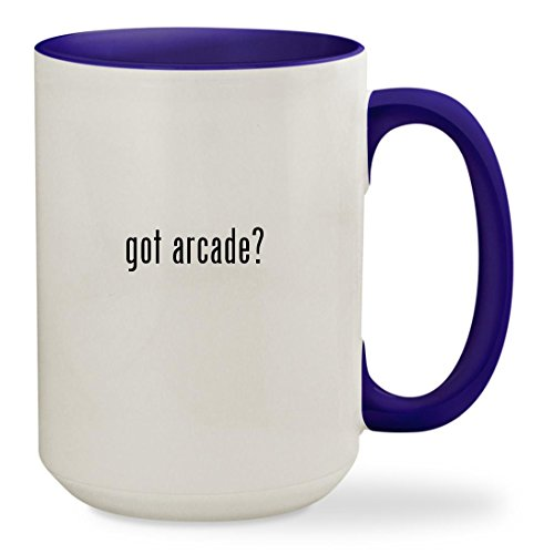 got arcade? - 15oz Colored Inside & Handle Sturdy Ceramic Coffee Cup Mug, Deep Purple