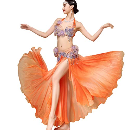 Egiziana Fata Wqwlf Coppa Mano In Per Danza Orange Prestazione Costume Prestazioni Rilievo Gonna Fiori Del Di Fatti 2 Completi onesize Xl A Reggiseno Set Ventre Pcs Da qw1rnqC7