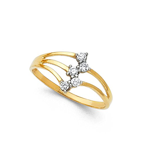 CZ Semanario Ring Solid 14k Yellow Gold Ring Three 3 Day Stackable Look Stylish Polished Fancy, Size 9 (Ring Yellow Gold Fancy)