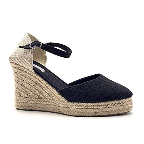 Wedge Shoes for Women, Huazi2 Canvas Thick Soled Ethnic Style Espadrilles Sandals Black