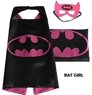 superhero cape with free mask for kids party costume bat girl