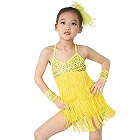 - 41XDyu9vvNL - MiDee Latin Dress Dance Costume 3 Colors Camisole Sequins Tassels Skirt for Girls