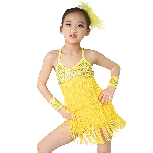Dancing Dresses And Costumes (MiDee Latin Dress Dance Costume 3 Colors Camisole Sequins Tassels Skirt For Girls (LC, Yellow))