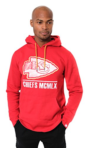 ICER Brands Adult Men Fleece Hoodie Pullover Sweatshirt Embroidered, Team Color, Red, Small