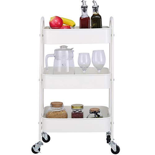 3-Tier Metal Mesh Utility Rolling Cart Storage Organizer with Wheels, Cream White (White Metal Rolling Cart)