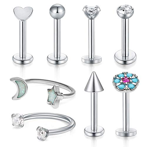 D.Bella Cartilage Tragus Earrings, 16G Stainless Steel Labret Monroe Medusa Lip Rings Rook Daith Forward Helix Earring Stud Barbell Piercing Jewelry 8mm 5/16