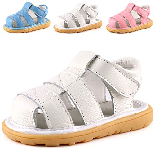 Femizee Baby Leather Sandals Closed Toe Outdoor Casual Sandals for Toddler Boys Girls,White,1231 -
