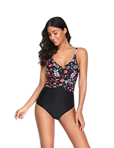 AMONIDA Women's Ruffled Swimsuit One Piece Solid Bottom Monokinis Bathing Suits Swimwear Black