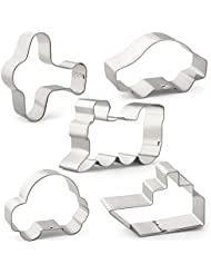 Transportation Cookie Cutter Set - 5 PCS - Airplane, Car, Train, Ship and Bubble Car - Stainless Steel