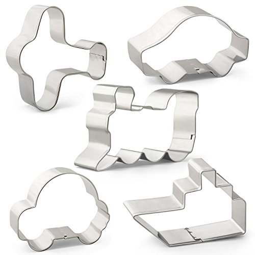 Boy Cookie Cutter - Transportation Vehicle Cookie Cutter Set Mould - 5 PCS - Airplane, Car, Train, Ship and Bubble Car Shape - Stainless Steel