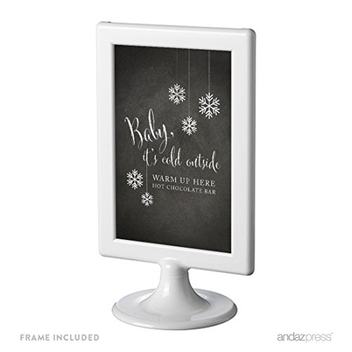 Andaz Press Framed Wedding Party Signs, Vintage Chalkboard Print, 4x6-inch, Baby It's Cold Outside, Warm Up Here, Hot Chocolate Bar Dessert Tale Sign, 1-Pack, Includes - Sign Email Up Www Com