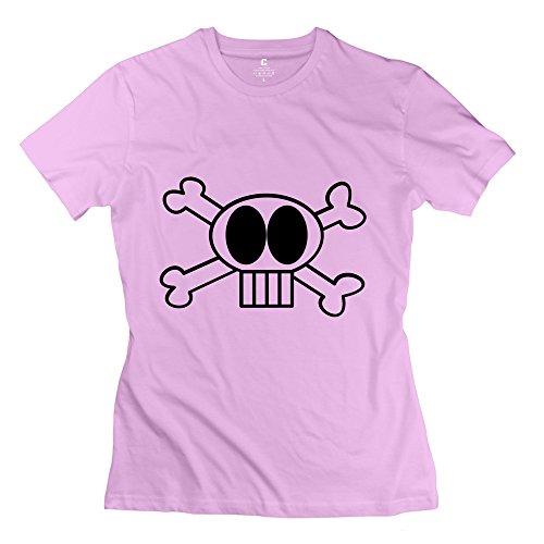 CPY Women's Goofy Skull Cotton T-Shirt Tee Pink L