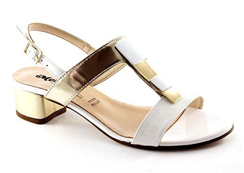 MELLUSO K35074 charol blanco hebilla sandalias de tacón zapatos de cuero de las mujeres Bianco