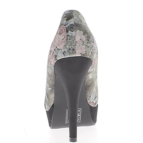 ChaussMoi Bombas Negro con Flores de Razones EN Tacones DE 11,5 cm y Plataforma de