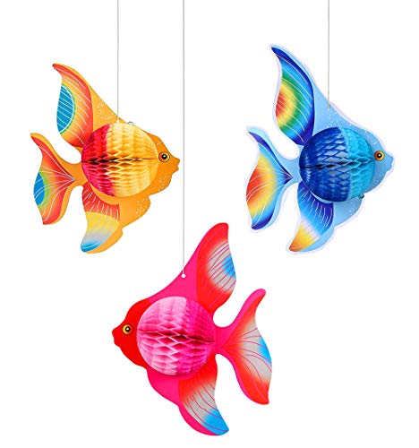 Mermaid Centerpieces Party Hanging Decor- Under The Sea Honeycomb Party Supplies - Ocean Themed Birthday Decorations for festive occasions Baby Shower Wedding Pool Party -