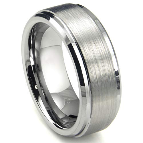 8MM High Polish/Matte Finish Men's Tungsten Ring Wedding Band Sz 12.5