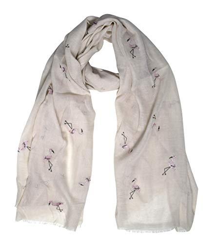 Peach Couture Chic Trendy Lightweight Animal Print Elephant Wrap Scarf Shawl (Flamingo Off White)