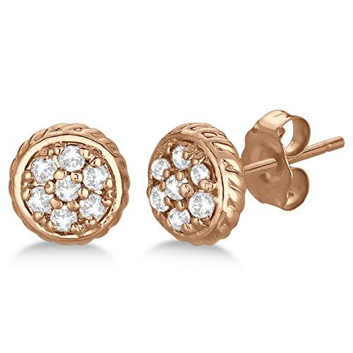 Pave-Set Cluster Floral Design Push Back Diamond Stud Earrings GH SI 14k Rose Gold (0.25ct) (Stud Earrings Diamond Antique)
