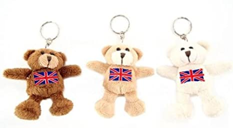 Amazon com : Bear w/Union Jack Soft Toy Keyring : Office