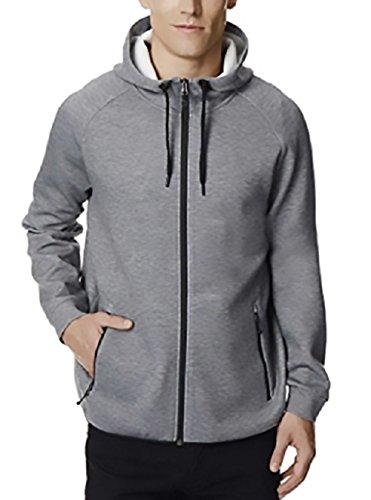 32 Degrees Mens Hoodie Sweatshirt Full Zip Tech Fleece Track Jacket (X Large, Heather Grey)