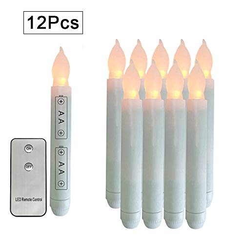 Flameless Double Wall Sconce - 12pcs AA Battery Operated Warm WhiteTaper Candles with Remote Control Flameless Unity Candles Mini Flickering Emergency Candle Led Long Burning for Centerpieces Chandelier Jars Holder