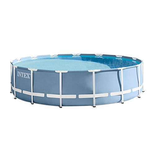 INTEX 15ft X 42in Prism Frame Pool Set with Filter Pump, Ladder, Ground Cloth & Pool Cover (Swimming Metal Pools Frame)