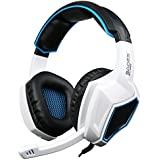 Xbox One PS4 Headset,Sades SA920 3.5mm Wired Over Ear Stereo Gaming Headphones with Microphone for PC iOS Computer Gamers Smart Phones Mobiles(White Black)