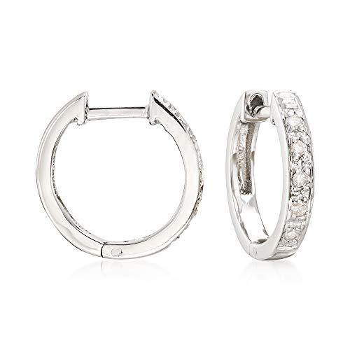 Ross-Simons Diamond-Accented Huggie Hoop Earrings in Sterling Silver