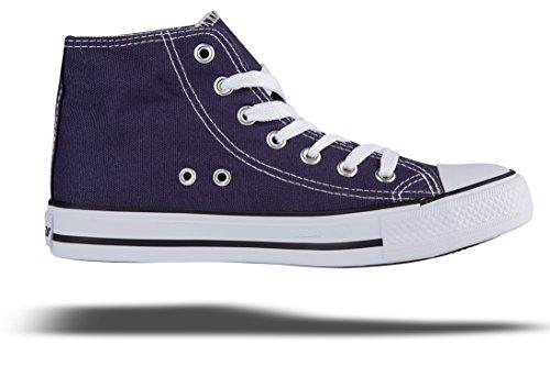 Shinmax Low-Cut Hitops Canvas Schuhe Unisex Canvas Sneaker - Saison Lace Ups Schuhe Casual Trainer für Männer und Frauen Tiefblau-hiotps