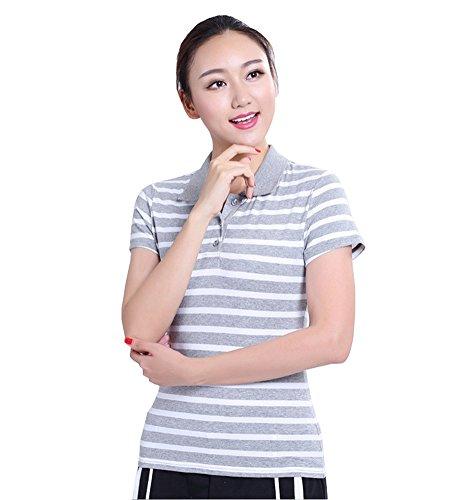 FEVON ポロシャツ レディース 大きいサイズ スポーツウェア ゴルフウェア tシャツ 半袖 夏 トップス カットソー スリム ボーダー柄 おしゃれ ベーシック ボタンダウン カジュアル 通勤 事務服 全6色 M-6XL