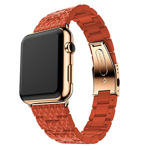 (Amaping Clearance Stainless Steel Buckle Cellulose Acetate Watch Band Replacement Strap For Apple Watch Series Series1/2/3 38mm (Orange))