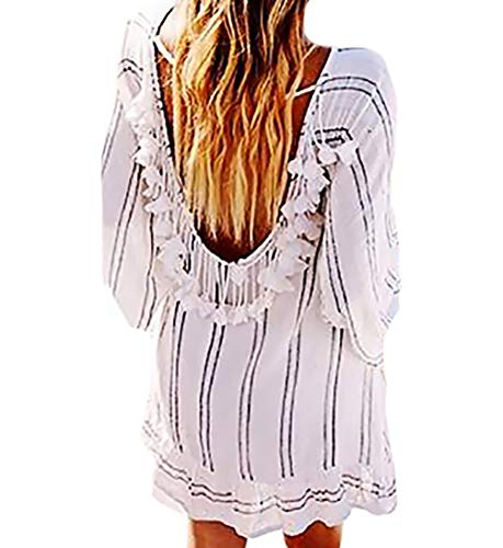 oidered Tunic Tops Rayon Blouses Bathing Suit Bikini Swimsuit Cover Up Swimwear Beachwear (Stripe C) ()