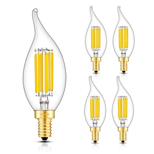 CRLight 6W 3000K LED Candelabra Bulb Soft White 700LM Dimmable, 70W Incandescent Equivalent E12 Base LED Candle Bulb, CA11 Clear Glass Flame Shape Bent Tip, Pack of - Base Medium 70w