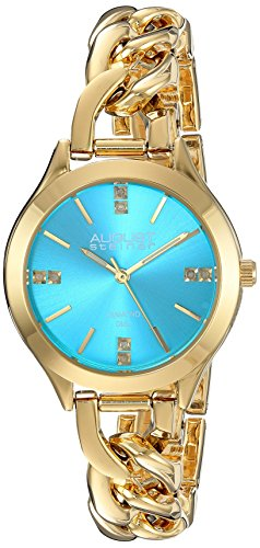 August Steiner Women s Genuine Diamond Colored Dial and Steel Chain Link Bracelet Watch