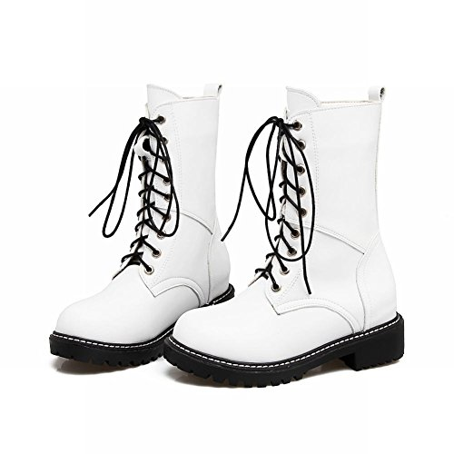Carolbar Womens Lace Up Comfort Motorcycle Low Heel Combat Boots White vCtaHqbBz