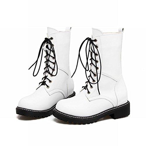 Carolbar Womens Lace Up Comfort Motorcycle Low Heel Combat Boots White 73hnEhVGK