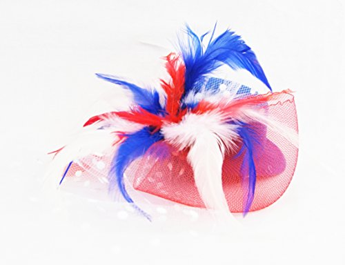 Red White & Blue 4th of July Plumed Veil Mini Hat - Independence Day, Memorial Day, Hand-made, Fascinator Hair (Dance Costumes Cl)
