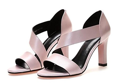 sandalias Club verano de alto mujeres Las abierto tacón de de cuero Pink tacones tacón genuino YEEY tobillo de compras de de xUTIqwUn
