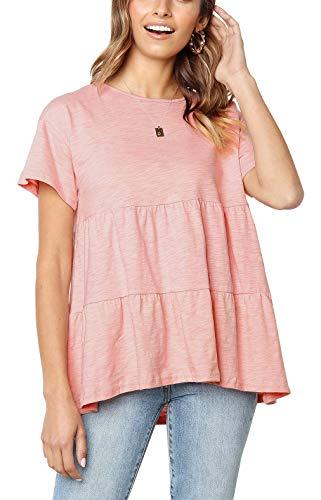 ANDUUNI Womens Summer Ruffle Casual Swing Tops Crew Neck Short Sleeve Peplum Blouses Shirt Pink