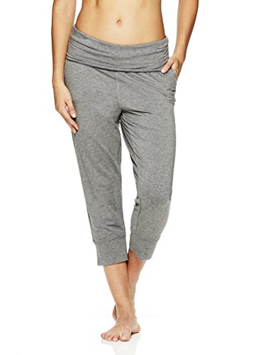 Pant Crop Fold Over - Gaiam Women's Piper Crop Harem Yoga Pants - Activewear Bottoms w/Fold Over Waistband - Flint Grey Heather, X-Large