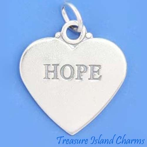 (Hope Two-Sided Heart .925 Solid Sterling Silver Charm Pendant New Ideal Gifts, Pendant, Charms, DIY Crafting, Gift Set from Heart by Wholesale Charms)