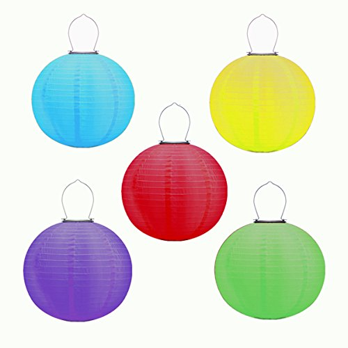 Obell 5 Pack 12 inch Solar Chinese Lanterns Nylon Lantern Outdoor Waterproof Solar Powered LED Hanging Lantern for Garden Yard Pathway Festival Party Wedding Decorations (Set of 5 Colors)