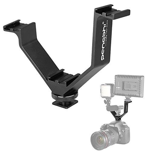 "V-shape Bracket Triple 3 Hot Shoe Mount for Nikon Canon DSLR Camera or Camcorder LED Video Light Microphone Monitor (5""/12.5cm)"