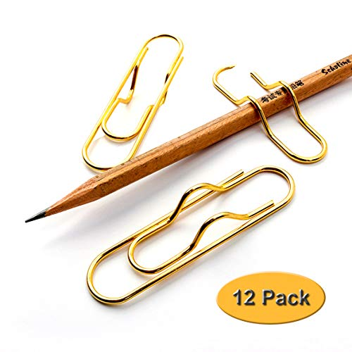 12 Pack Pen Holder Clip for Notebook Metal Pencil Clips Holder Set 2.8